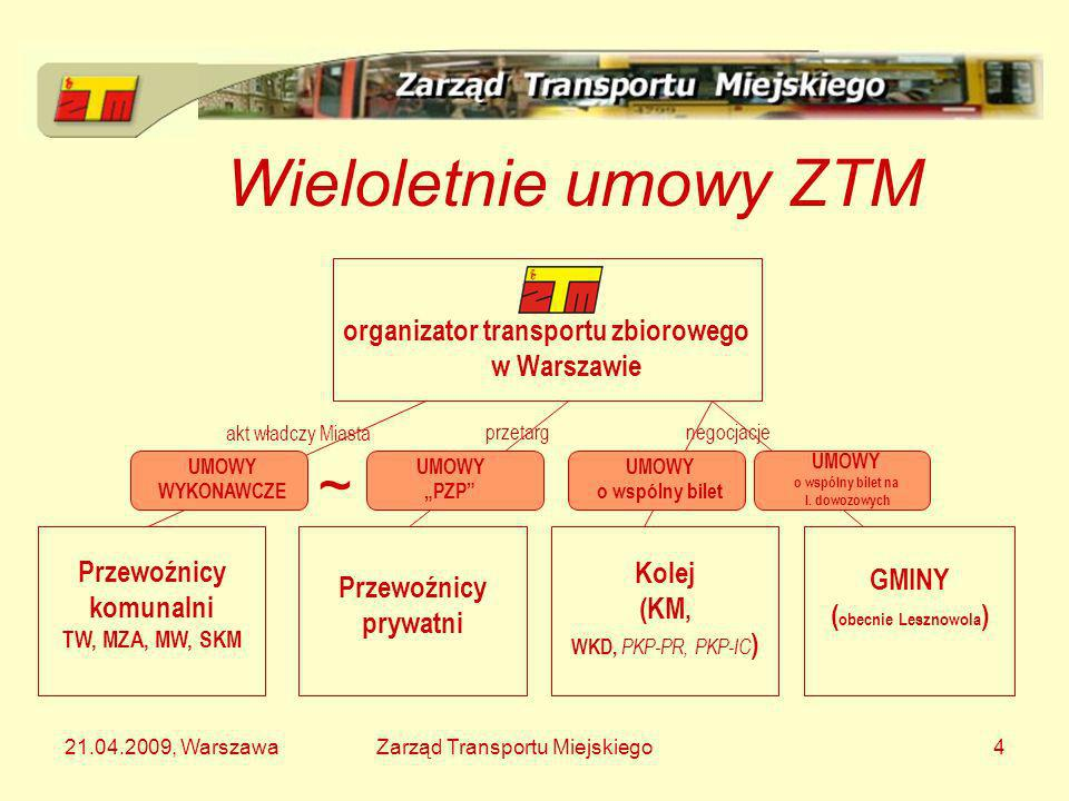 21.04.2009, WarszawaZarząd Transportu Miejskiego15 Monopol + porozumienie z Warszawą Gmina zleca organizację i wykonanie komunikacji miejskiej wybranemu (często własnemu) podmiotowi Na mocy porozumienia gmina jest objęta także liniami podmiejskimi ZTM Przykład: Łomianki