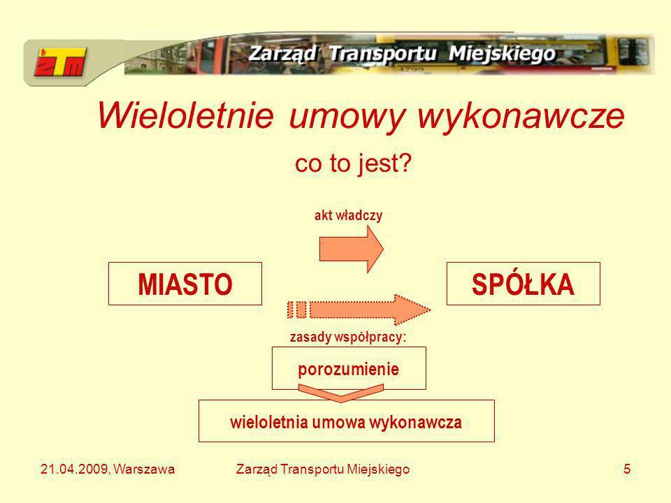 21.04.2009, WarszawaZarząd Transportu Miejskiego5 Wieloletnie umowy wykonawcze MIASTOSPÓŁKA co to jest? akt władczy zasady współpracy: porozumienie wi