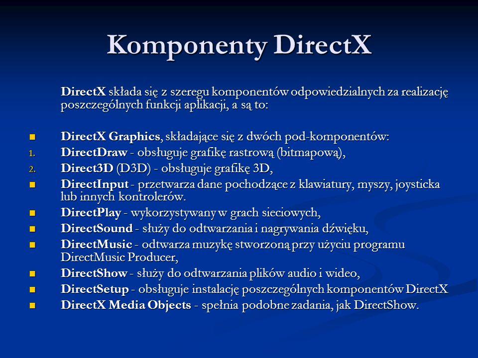 Komponenty DirectX DirectX składa się z szeregu komponentów odpowiedzialnych za realizację poszczególnych funkcji aplikacji, a są to: DirectX Graphics