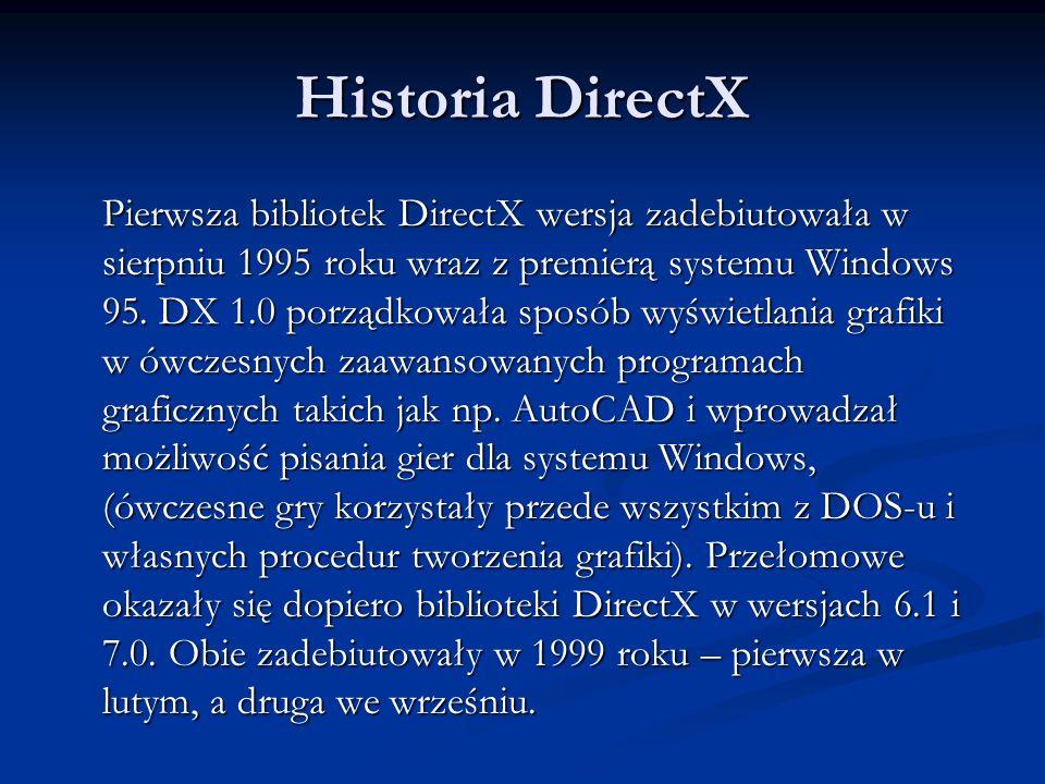 Historia DirectX Pierwsza bibliotek DirectX wersja zadebiutowała w sierpniu 1995 roku wraz z premierą systemu Windows 95. DX 1.0 porządkowała sposób w
