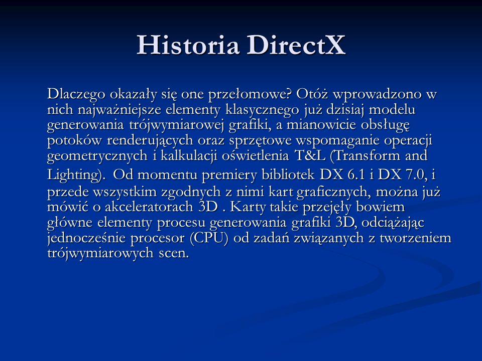 Historia DirectX Dlaczego okazały się one przełomowe? Otóż wprowadzono w nich najważniejsze elementy klasycznego już dzisiaj modelu generowania trójwy