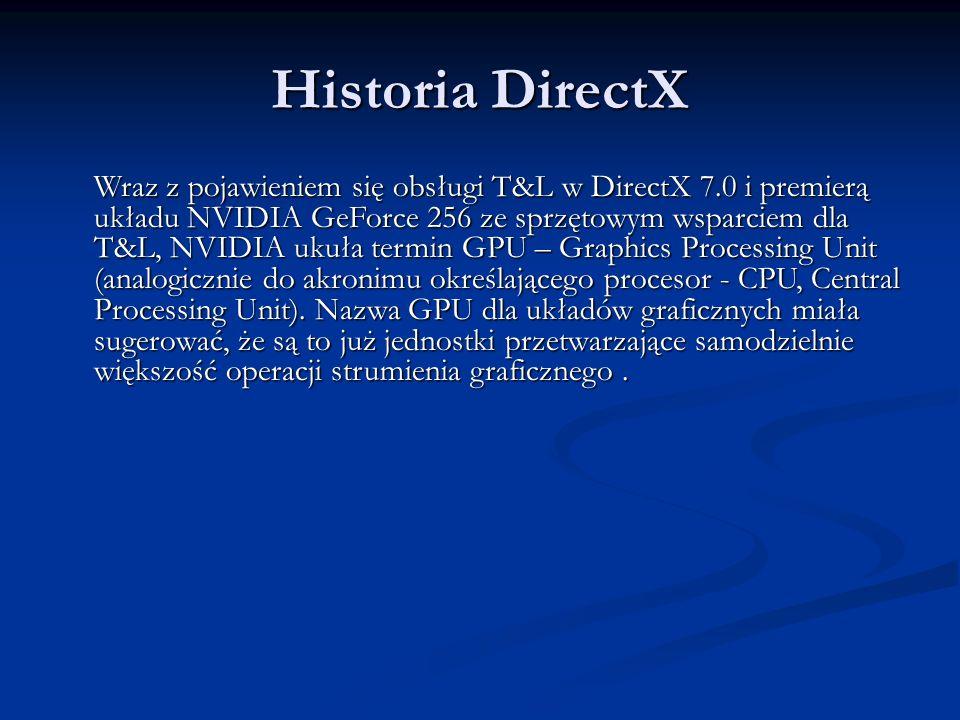 Historia DirectX Wraz z pojawieniem się obsługi T&L w DirectX 7.0 i premierą układu NVIDIA GeForce 256 ze sprzętowym wsparciem dla T&L, NVIDIA ukuła t