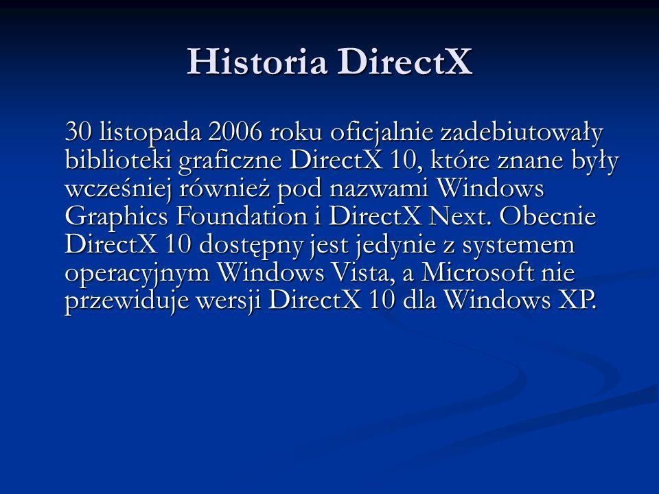 Historia DirectX 30 listopada 2006 roku oficjalnie zadebiutowały biblioteki graficzne DirectX 10, które znane były wcześniej również pod nazwami Windo