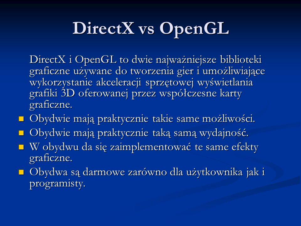 DirectX vs OpenGL DirectX i OpenGL to dwie najważniejsze biblioteki graficzne używane do tworzenia gier i umożliwiające wykorzystanie akceleracji sprz