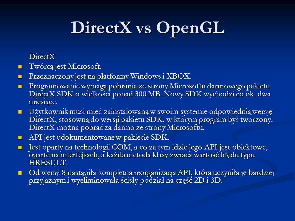 DirectX vs OpenGL DirectX Twórcą jest Microsoft. Twórcą jest Microsoft. Przeznaczony jest na platformy Windows i XBOX. Przeznaczony jest na platformy