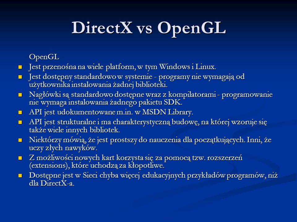 DirectX vs OpenGL OpenGL Jest przenośna na wiele platform, w tym Windows i Linux. Jest przenośna na wiele platform, w tym Windows i Linux. Jest dostęp