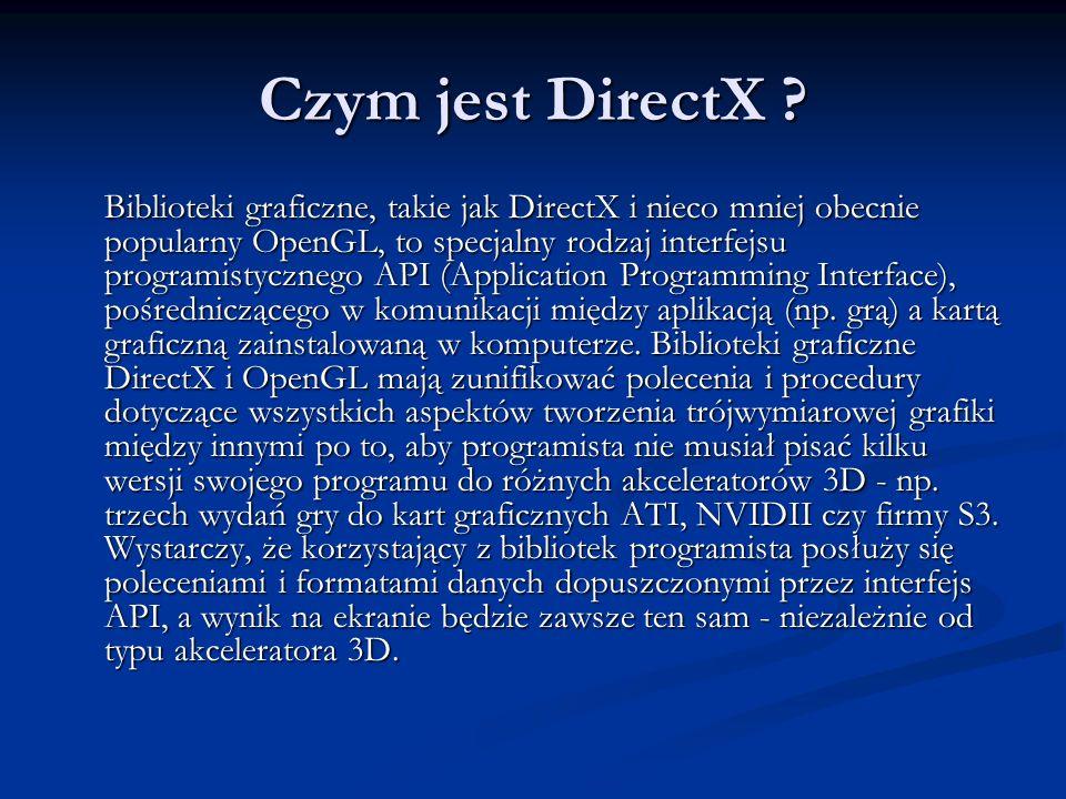 Czym jest DirectX ? Biblioteki graficzne, takie jak DirectX i nieco mniej obecnie popularny OpenGL, to specjalny rodzaj interfejsu programistycznego A