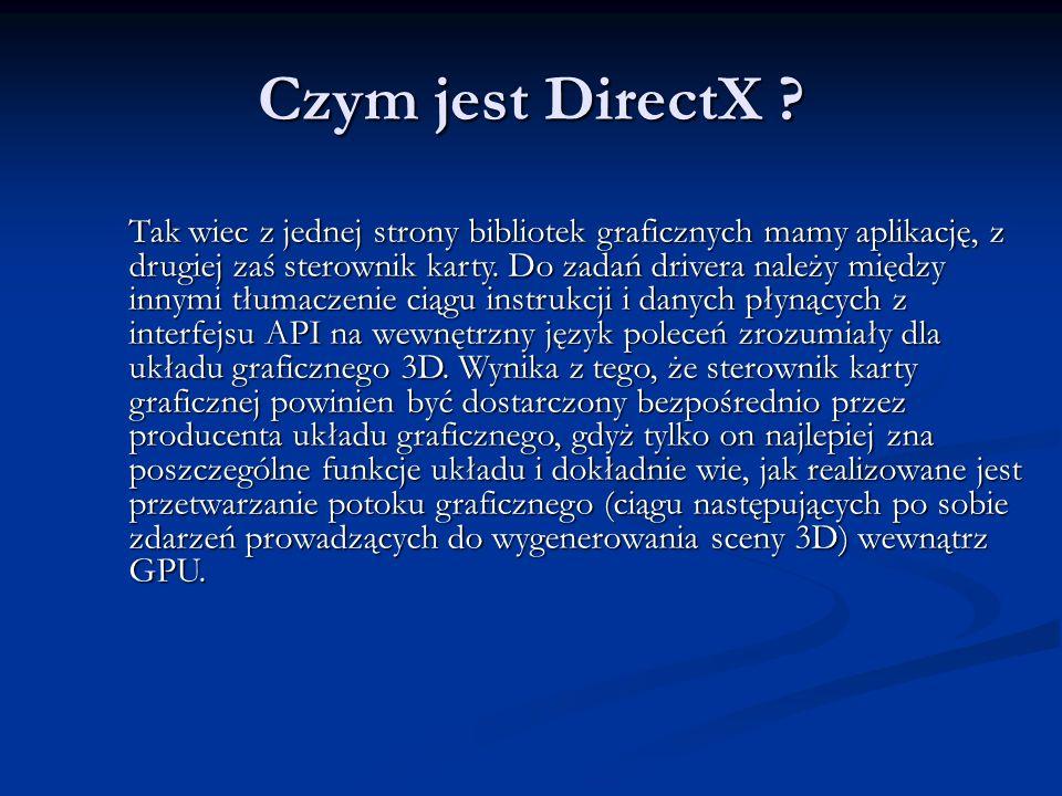 Czym jest DirectX ? Tak wiec z jednej strony bibliotek graficznych mamy aplikację, z drugiej zaś sterownik karty. Do zadań drivera należy między innym
