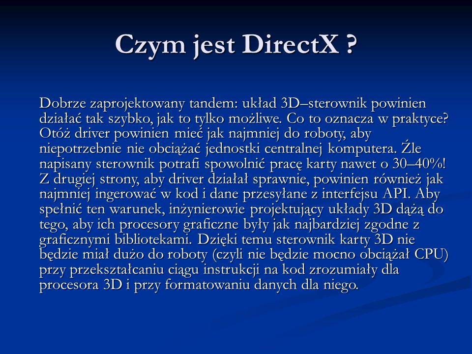 Czym jest DirectX ? Dobrze zaprojektowany tandem: układ 3D–sterownik powinien działać tak szybko, jak to tylko możliwe. Co to oznacza w praktyce? Otóż