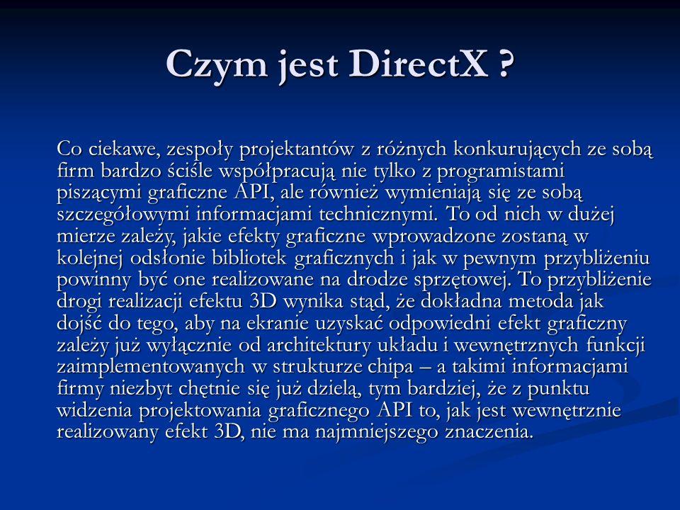 Czym jest DirectX ? Co ciekawe, zespoły projektantów z różnych konkurujących ze sobą firm bardzo ściśle współpracują nie tylko z programistami piszący