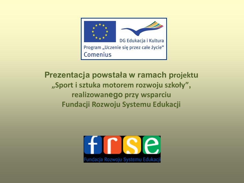 Prezentacja powstała w ramach p rojekt u Sport i sztuka motorem rozwoju szkoły, realizowan ego przy wsparciu Fundacji Rozwoju Systemu Edukacji
