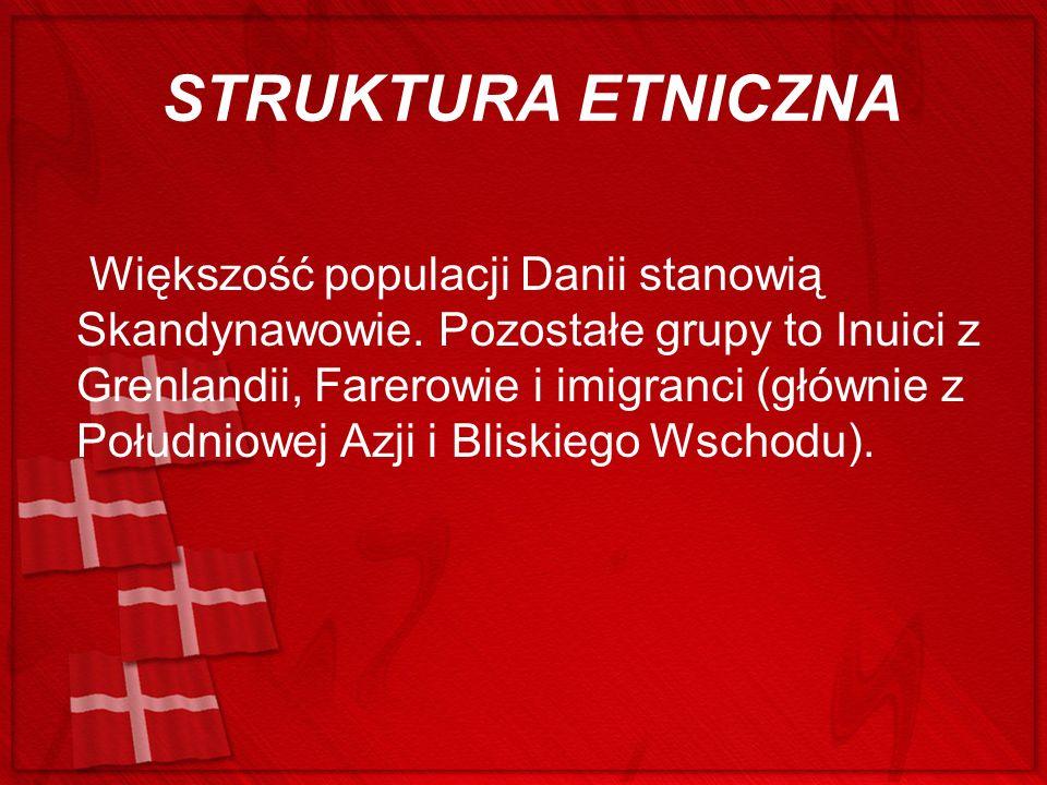 STRUKTURA ETNICZNA Większość populacji Danii stanowią Skandynawowie. Pozostałe grupy to Inuici z Grenlandii, Farerowie i imigranci (głównie z Południo