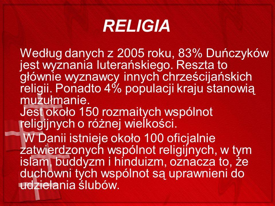RELIGIA Według danych z 2005 roku, 83% Duńczyków jest wyznania luterańskiego. Reszta to głównie wyznawcy innych chrześcijańskich religii. Ponadto 4% p