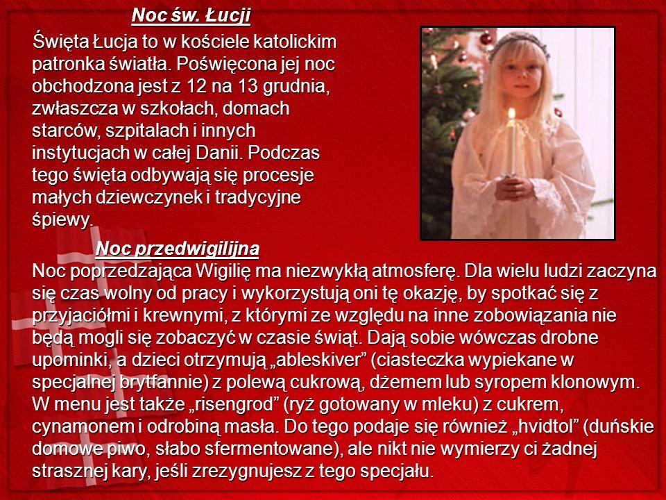 Noc św. Łucji Noc św. Łucji Święta Łucja to w kościele katolickim patronka światła. Poświęcona jej noc obchodzona jest z 12 na 13 grudnia, zwłaszcza w