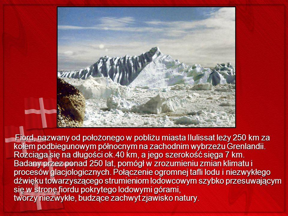 Fiord, nazwany od położonego w pobliżu miasta Ilulissat leży 250 km za kołem podbiegunowym północnym na zachodnim wybrzeżu Grenlandii. Rozciąga się na