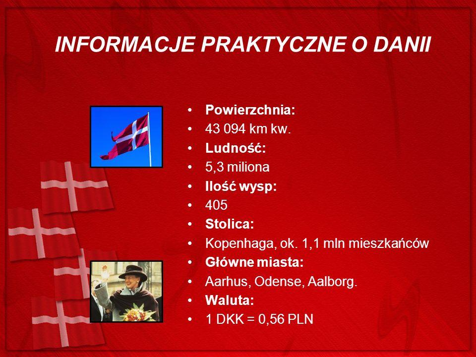 INFORMACJE PRAKTYCZNE O DANII Powierzchnia: 43 094 km kw. Ludność: 5,3 miliona Ilość wysp: 405 Stolica: Kopenhaga, ok. 1,1 mln mieszkańców Główne mias