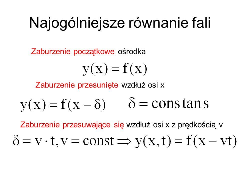 Najogólniejsze równanie fali Zaburzenie początkowe ośrodka Zaburzenie przesunięte wzdłuż osi x Zaburzenie przesuwające się wzdłuż osi x z prędkością v