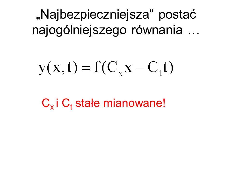 Najbezpieczniejsza postać najogólniejszego równania … C x i C t stałe mianowane!