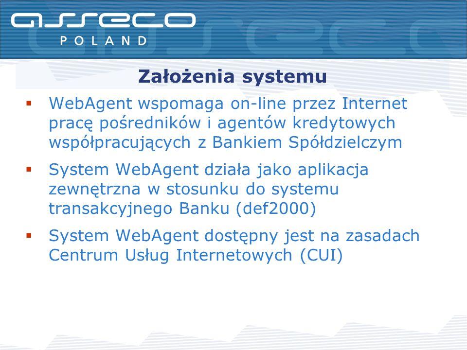 Założenia systemu WebAgent wspomaga on-line przez Internet pracę pośredników i agentów kredytowych współpracujących z Bankiem Spółdzielczym System WebAgent działa jako aplikacja zewnętrzna w stosunku do systemu transakcyjnego Banku (def2000) System WebAgent dostępny jest na zasadach Centrum Usług Internetowych (CUI)