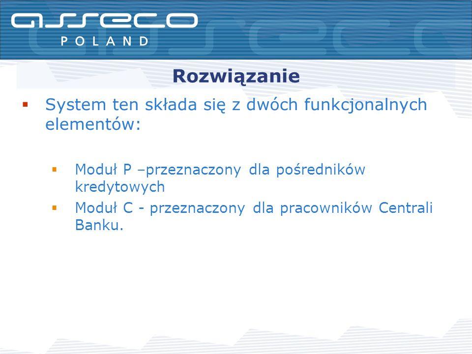 Rozwiązanie System ten składa się z dwóch funkcjonalnych elementów: Moduł P –przeznaczony dla pośredników kredytowych Moduł C - przeznaczony dla pracowników Centrali Banku.