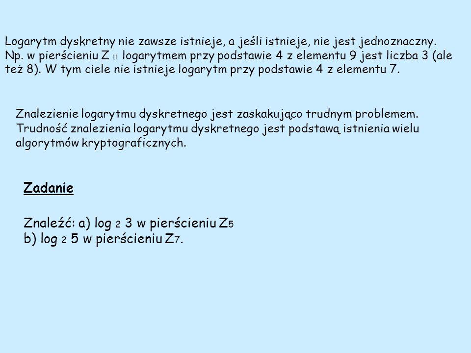 Logarytm dyskretny nie zawsze istnieje, a jeśli istnieje, nie jest jednoznaczny. Np. w pierścieniu Z 11 logarytmem przy podstawie 4 z elementu 9 jest
