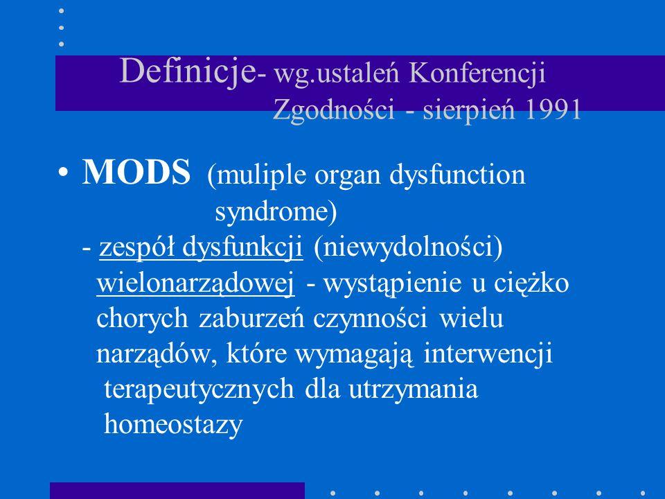 Definicje - wg.ustaleń Konferencji Zgodności - sierpień 1991 MODS (muliple organ dysfunction syndrome) - zespół dysfunkcji (niewydolności) wielonarząd