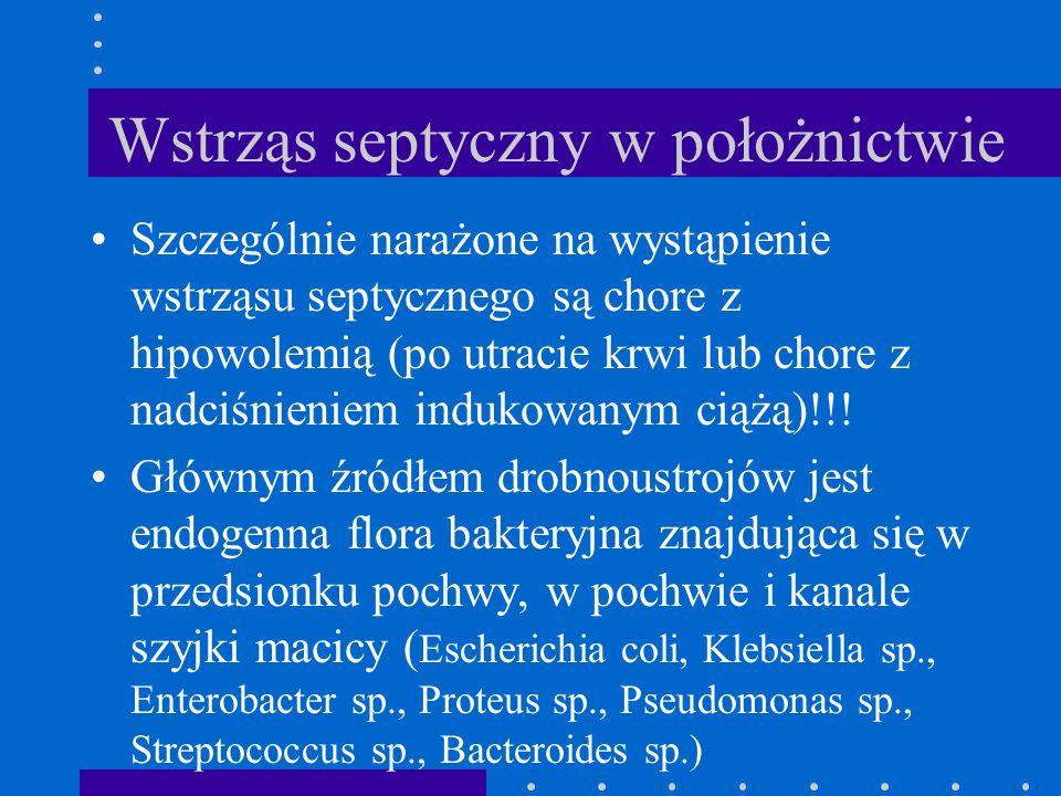 Wstrząs septyczny w położnictwie Szczególnie narażone na wystąpienie wstrząsu septycznego są chore z hipowolemią (po utracie krwi lub chore z nadciśni