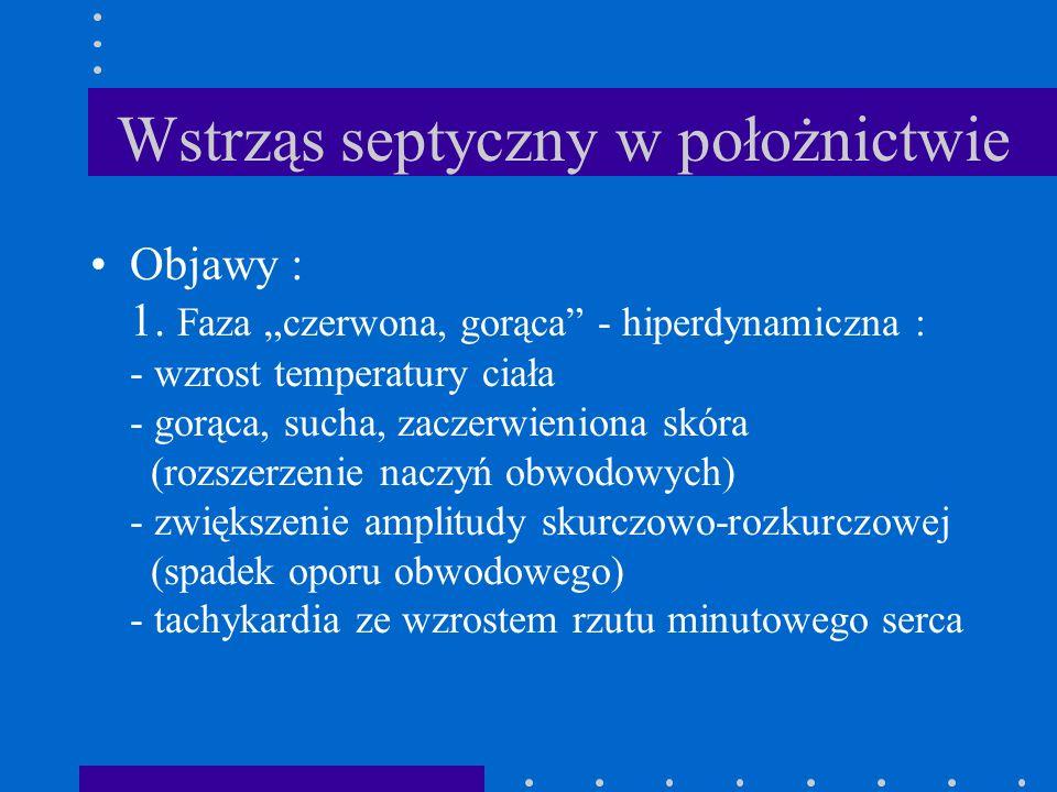 Wstrząs septyczny w położnictwie Objawy : 1. Faza czerwona, gorąca - hiperdynamiczna : - wzrost temperatury ciała - gorąca, sucha, zaczerwieniona skór