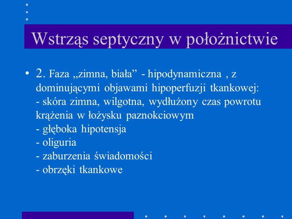 Wstrząs septyczny w położnictwie 2. Faza zimna, biała - hipodynamiczna, z dominującymi objawami hipoperfuzji tkankowej: - skóra zimna, wilgotna, wydłu
