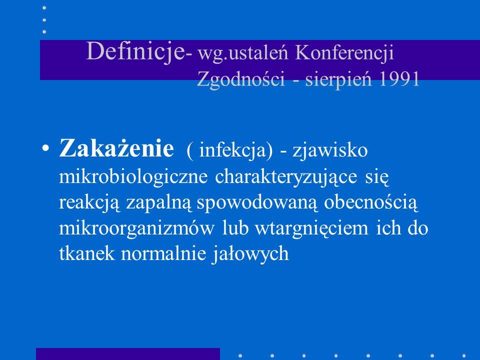 Definicje - wg.ustaleń Konferencji Zgodności - sierpień 1991 Zakażenie ( infekcja) - zjawisko mikrobiologiczne charakteryzujące się reakcją zapalną sp