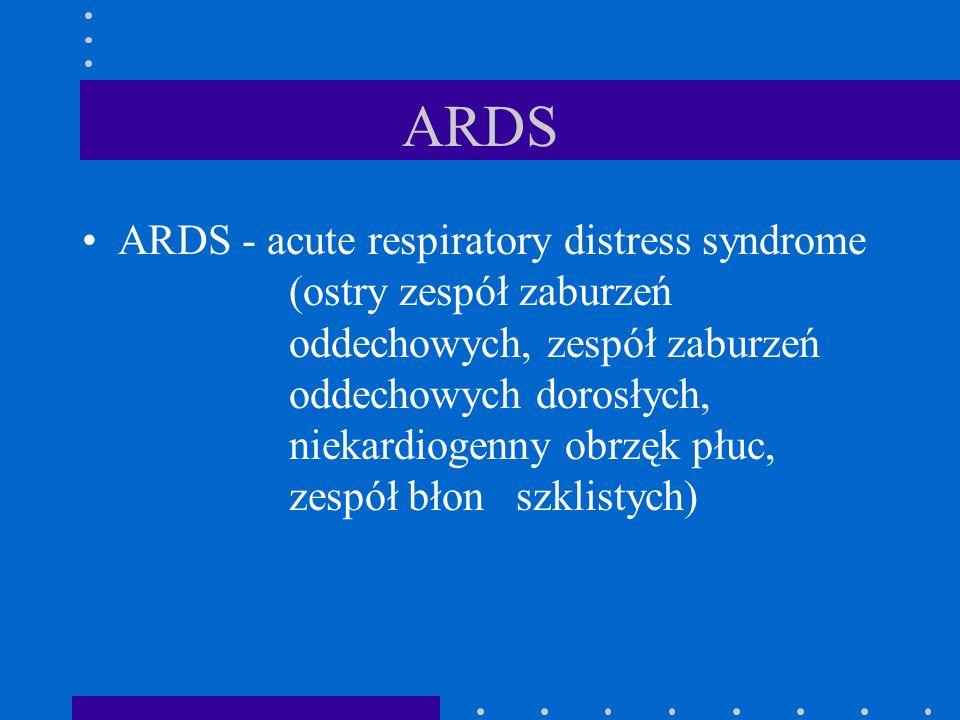 ARDS ARDS - acute respiratory distress syndrome (ostry zespół zaburzeń oddechowych, zespół zaburzeń oddechowych dorosłych, niekardiogenny obrzęk płuc,