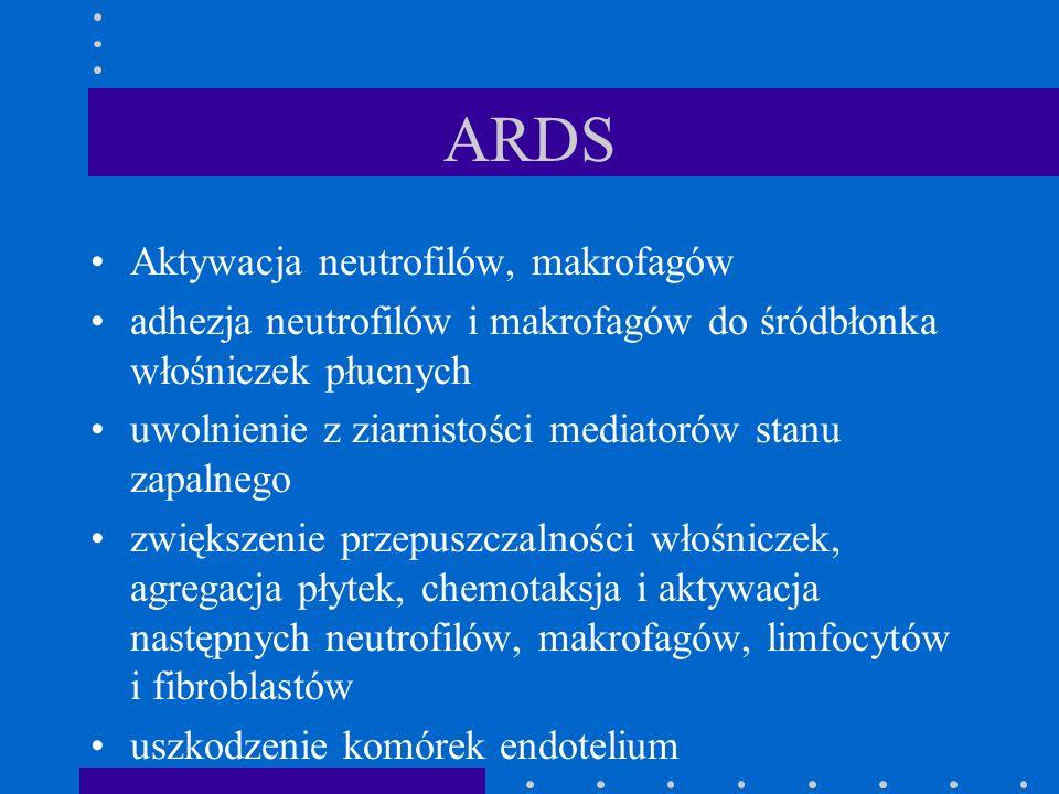 ARDS Aktywacja neutrofilów, makrofagów adhezja neutrofilów i makrofagów do śródbłonka włośniczek płucnych uwolnienie z ziarnistości mediatorów stanu z