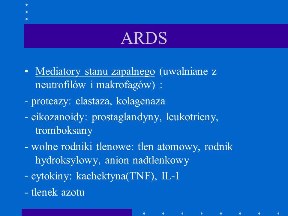 ARDS Mediatory stanu zapalnego (uwalniane z neutrofilów i makrofagów) : - proteazy: elastaza, kolagenaza - eikozanoidy: prostaglandyny, leukotrieny, t