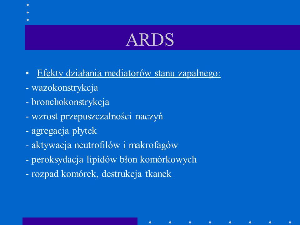 ARDS Efekty działania mediatorów stanu zapalnego: - wazokonstrykcja - bronchokonstrykcja - wzrost przepuszczalności naczyń - agregacja płytek - aktywa