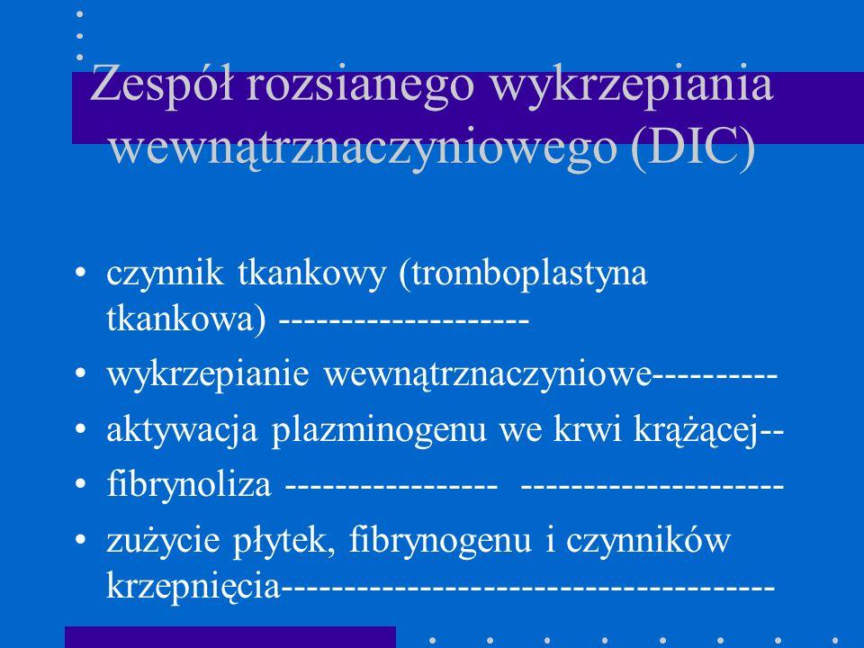 Zespół rozsianego wykrzepiania wewnątrznaczyniowego (DIC) czynnik tkankowy (tromboplastyna tkankowa) -------------------- wykrzepianie wewnątrznaczyni