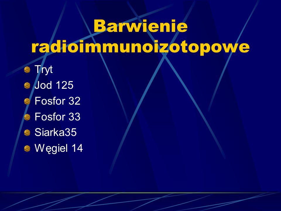 Barwienie radioimmunoizotopowe Tryt Jod 125 Fosfor 32 Fosfor 33 Siarka35 Węgiel 14