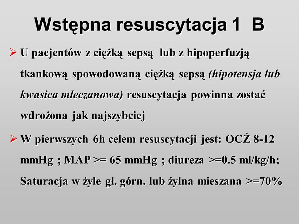 Wstępna resuscytacja 1 B U pacjentów z ciężką sepsą lub z hipoperfuzją tkankową spowodowaną ciężką sepsą (hipotensja lub kwasica mleczanowa) resuscyta