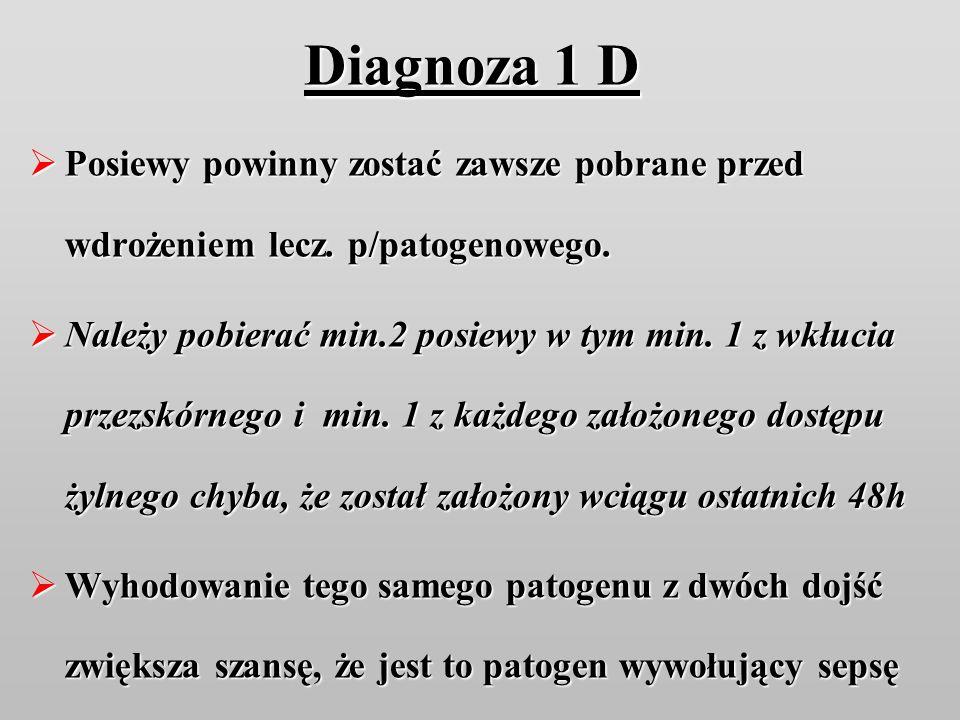 Diagnoza 1 D Posiewy powinny zostać zawsze pobrane przed wdrożeniem lecz. p/patogenowego. Posiewy powinny zostać zawsze pobrane przed wdrożeniem lecz.