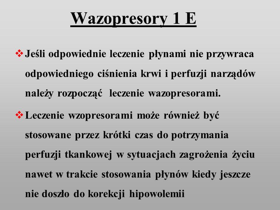 Wazopresory 1 E Jeśli odpowiednie leczenie płynami nie przywraca odpowiedniego ciśnienia krwi i perfuzji narządów należy rozpocząć leczenie wazopresor