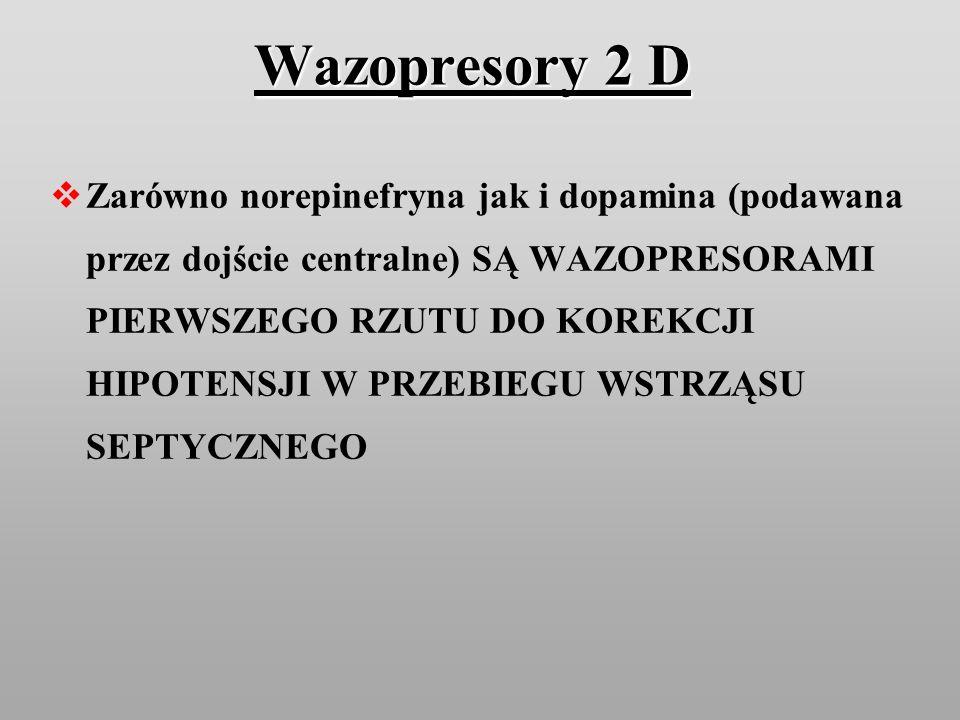 Wazopresory 2 D Zarówno norepinefryna jak i dopamina (podawana przez dojście centralne) SĄ WAZOPRESORAMI PIERWSZEGO RZUTU DO KOREKCJI HIPOTENSJI W PRZ