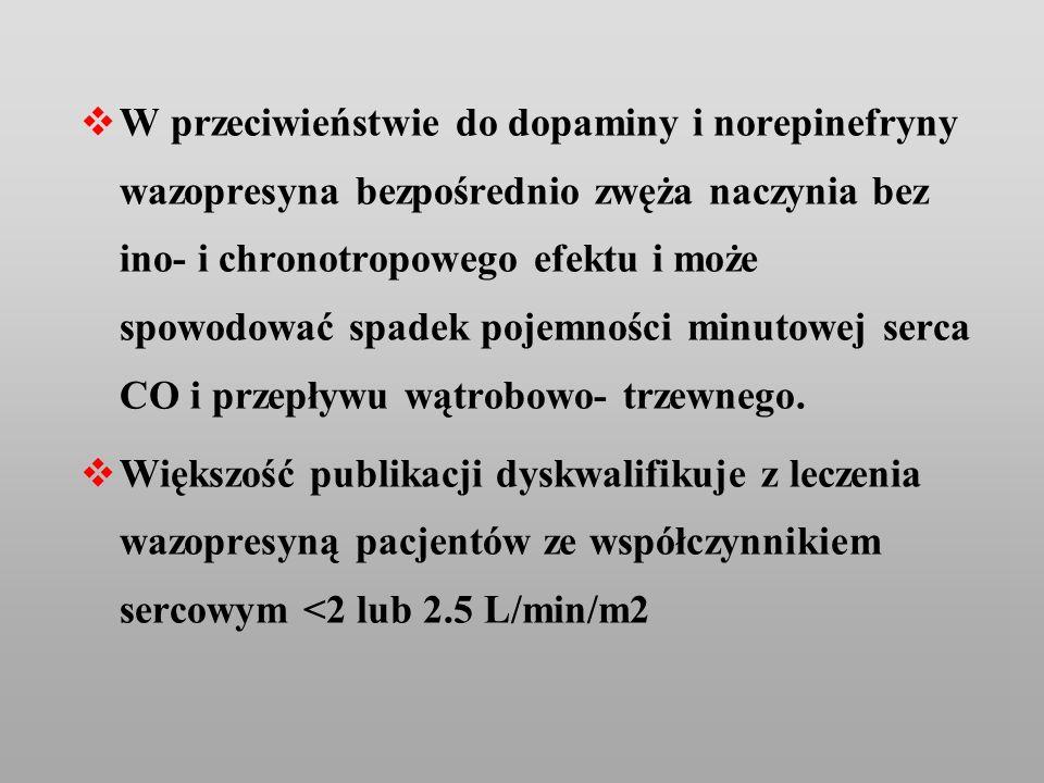 W przeciwieństwie do dopaminy i norepinefryny wazopresyna bezpośrednio zwęża naczynia bez ino- i chronotropowego efektu i może spowodować spadek pojem
