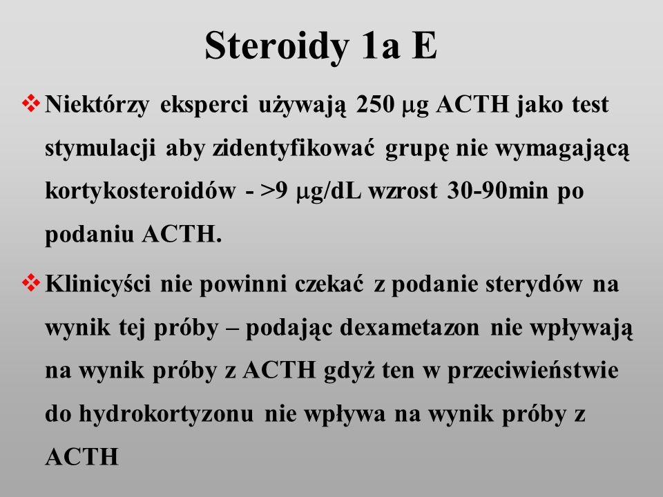 Steroidy 1a E Niektórzy eksperci używają 250 g ACTH jako test stymulacji aby zidentyfikować grupę nie wymagającą kortykosteroidów - >9 g/dL wzrost 30-