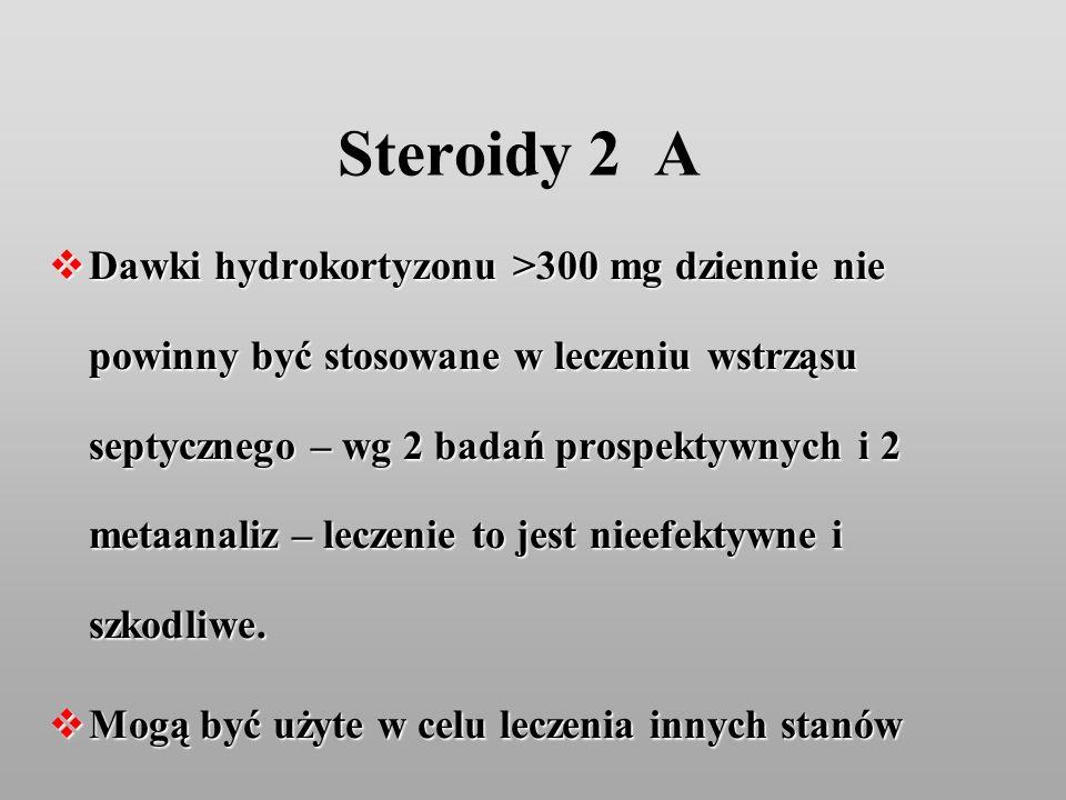 Steroidy 2 A Dawki hydrokortyzonu >300 mg dziennie nie powinny być stosowane w leczeniu wstrząsu septycznego – wg 2 badań prospektywnych i 2 metaanali