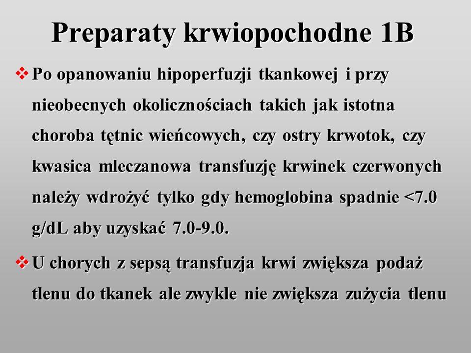 Preparaty krwiopochodne 1B Po opanowaniu hipoperfuzji tkankowej i przy nieobecnych okolicznościach takich jak istotna choroba tętnic wieńcowych, czy o
