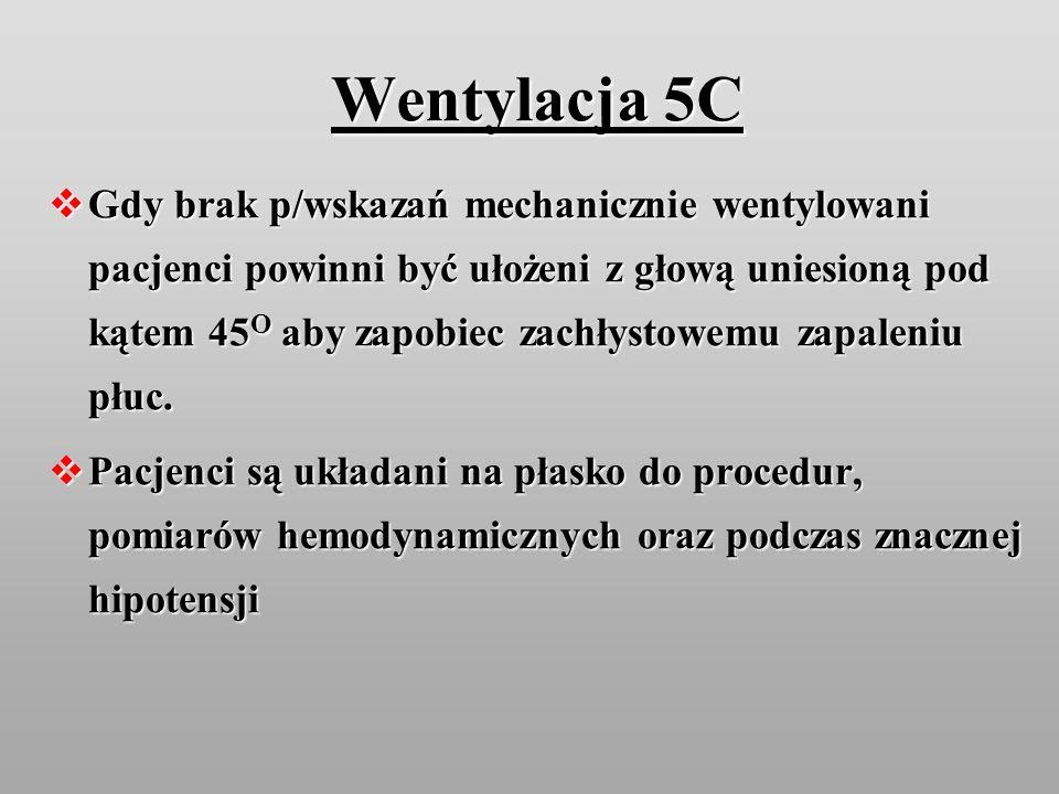 Wentylacja 5C Gdy brak p/wskazań mechanicznie wentylowani pacjenci powinni być ułożeni z głową uniesioną pod kątem 45 O aby zapobiec zachłystowemu zap