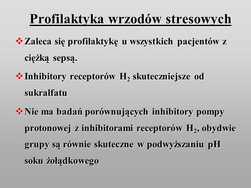 Profilaktyka wrzodów stresowych Zaleca się profilaktykę u wszystkich pacjentów z ciężką sepsą. Zaleca się profilaktykę u wszystkich pacjentów z ciężką