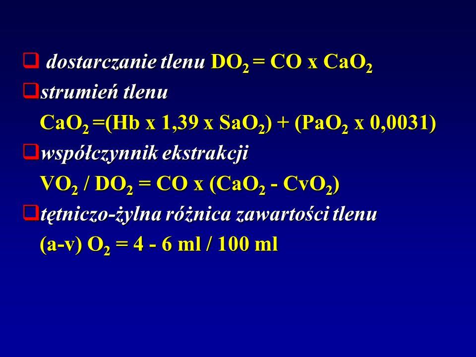 dostarczanie tlenu DO 2 = CO x CaO 2 strumień tlenu strumień tlenu CaO 2 =(Hb x 1,39 x SaO 2 ) + (PaO 2 x 0,0031) współczynnik ekstrakcji współczynnik