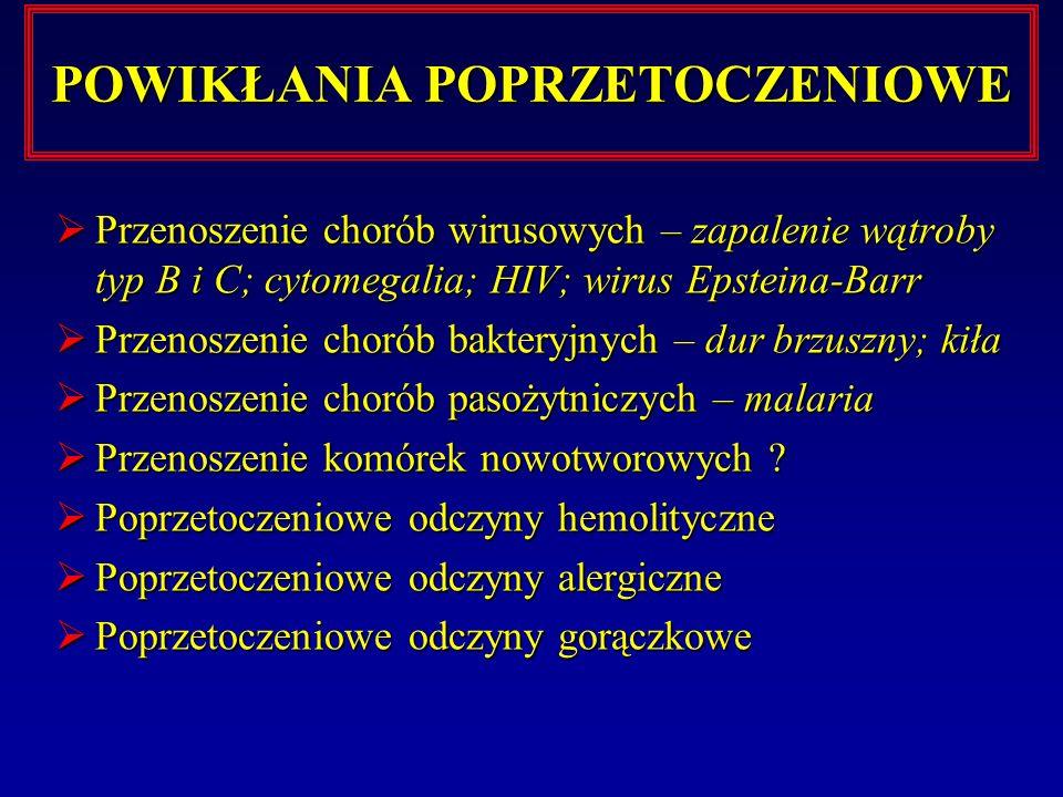 POWIKŁANIA POPRZETOCZENIOWE Przenoszenie chorób wirusowych – zapalenie wątroby typ B i C; cytomegalia; HIV; wirus Epsteina-Barr Przenoszenie chorób wi