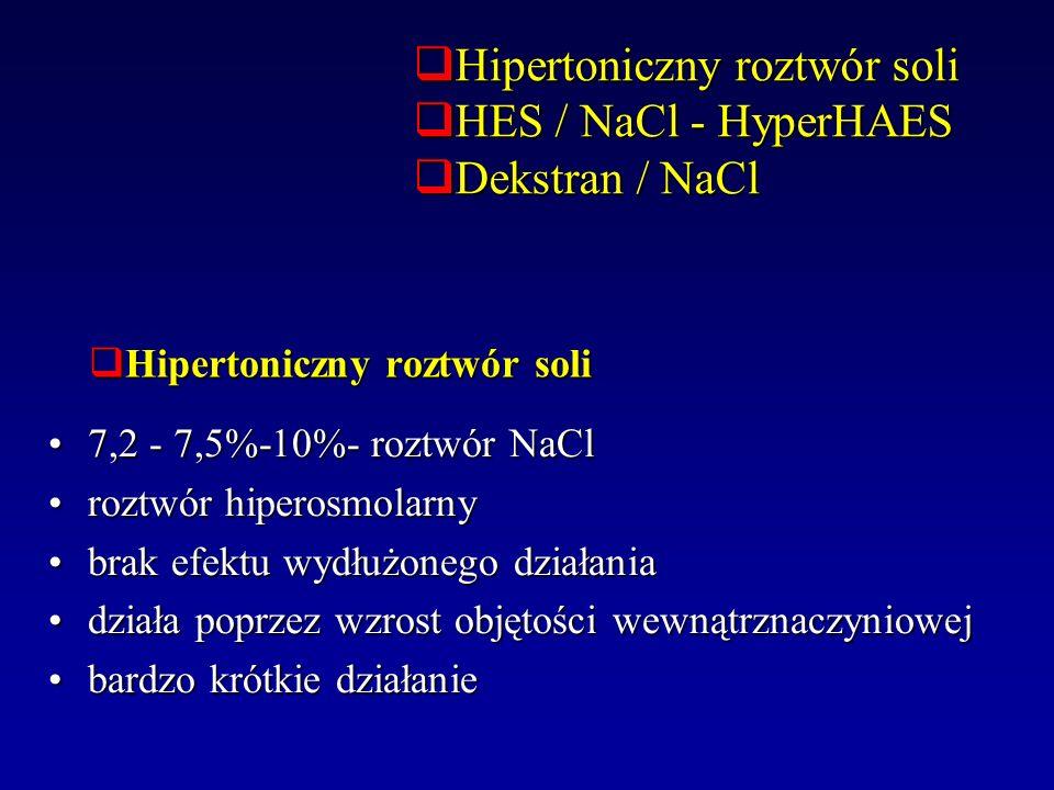 Hipertoniczny roztwór soli Hipertoniczny roztwór soli 7,2 - 7,5%-10%- roztwór NaCl7,2 - 7,5%-10%- roztwór NaCl roztwór hiperosmolarnyroztwór hiperosmo