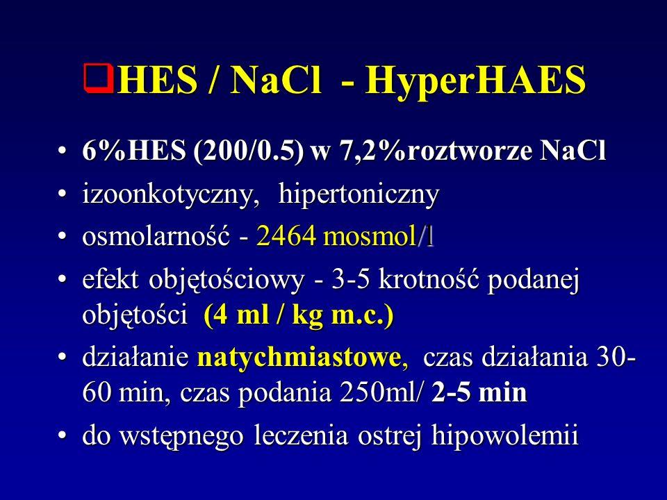 HES / NaCl - HyperHAES HES / NaCl - HyperHAES 6%HES (200/0.5) w 7,2%roztworze NaCl6%HES (200/0.5) w 7,2%roztworze NaCl izoonkotyczny, hipertonicznyizo